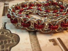 Silver and Red Parallel Weave BDSM Slave by aislinnscollared, $35.00