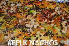 Apple nachos - fun dessert for a party with a twist on caramel apples