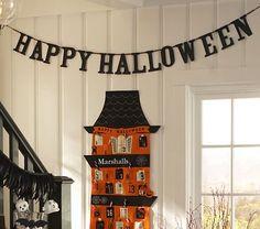 Glitter Happy Halloween Garland #WilliamsSonoma