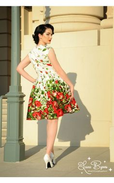 Sadie Dress in Red Floral Border Print - Holiday - Collections | Pinup Girl Clothing