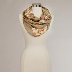 Taupe Floral-Infinity Scarf | World Market