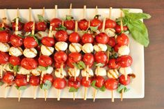Just Made for a Party! Crowd pleaser, for sure. Caprese salad on a stick - I didn't really follow this recipe. Instead, just marinated the mozzarella, tomatoes & basil in olive oil for a couple of hours. Then, put on skewers in a consistent pattern (not all the way up the stick). Sprinkle with fresh ground pepper & sea salt. Voila! Perfect outdoor party finger food!