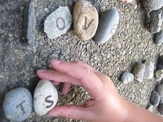 Put the alphabet on rocks and let the kids spell words or do letter games with them outside