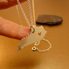 Kentucky state solid sterling silver necklace, sterling silver chain, & custom heart