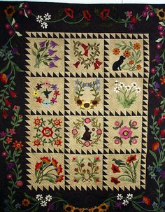 Appliqued wool quilt