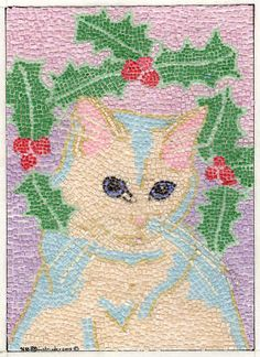 Micro Paper Mosaic Kitty Cat and Holly   ACEO Print  from Theodora .... WOW!  My eyes hurt thinking about it... Gorgeous! .... http://www.etsy.com/listing/115090904/micro-paper-mosaic-kitty-cat-and-holly?utm_campaign=Share_medium=PageTools_source=Pinterest