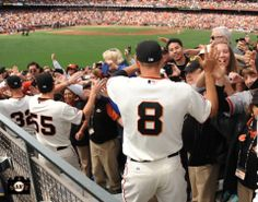 Ryan Vogelsong, Tim Lincecum and Hunter Pence exchange high-5s with #SFGiants fans