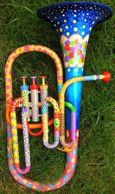 Rainbow Painted Horn  http://www.etsy.com/listing/83285159/rainbow-painted-horn