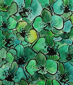botanical illustration in emerald and malachite by EugeneAndFranz #color #pattern