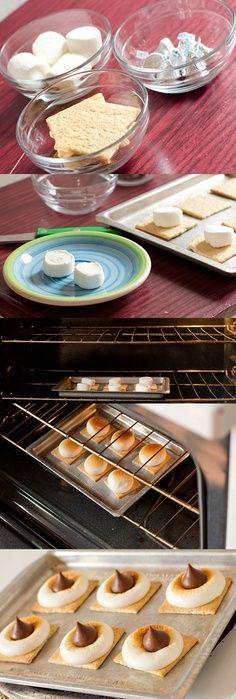 fun dessert, oven, food, smores bite, summer nights, smore bite, peanut butter, snack, treat