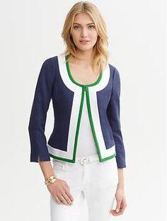 collarless jacket, banana republic