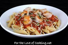 garlic basil shrimp w/ penne in spicy basil marinara