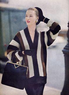 tri color sweater 1955 Vogue