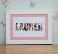With pictures of the child, here's a DIY idea for a personalized frame of his/her name.