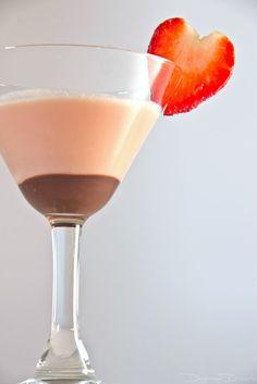 Chocolate Dipped Strawberry Martini     (3 oz chocolate vodka  2 oz heavy cream  2 oz dark creme de cacao  1 oz strawberry syrup  2 oz chocolate syrup)