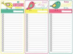 Free Printable: Three Little Birds To Do List.