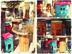 Redolab Work #Ecodesign, #Pallet, #Recycled, #Reused, #Stool, #Table, #Wood