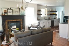 Black Mantel & Wood-Surround Fireplace