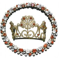 Ruby and Diamond Tiara and necklace