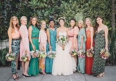 Stylish bridesmaids in mismatched dresses