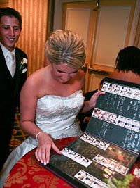 If you have a photobooth at your wedding, this is a great guestbook idea! Have the pictures from the photobooth with notes from those in them!