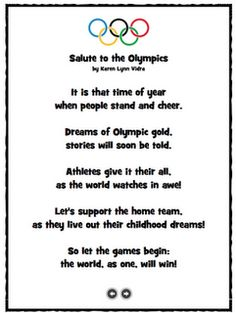 Salute to the Olympics poem