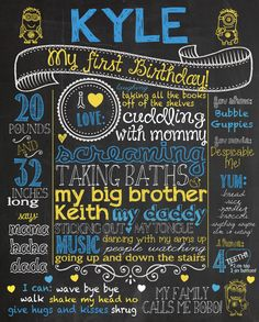 Customized 1st birthday chalkboard poster Despicable Me Minions theme