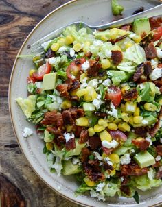 BLT Chopped Salad with Corn, Feta & Avocado. I want to make this with fake bacon. Yum