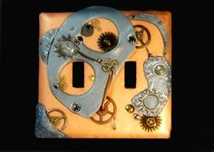 Steam Punk Double Sculpted Swtich Plate by BobsImagination on Etsy, $35.00