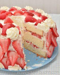 Heavenly Strawberries 'n Cream Cake Recipe.