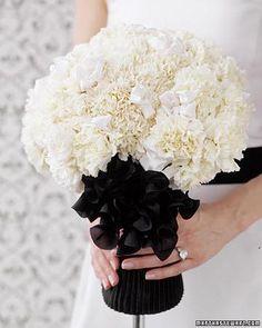 Black Tie Bouquet: White Carnations