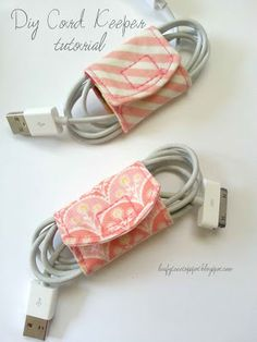 Cord Keeper From Fabric Scraps - Quick and easy DIY idea to help you get organized in 2014
