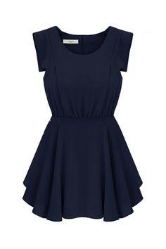 Retro Sleeveless Pleated Navy Blue Dress