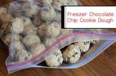 chocolate chips, freezer meals, choc chip cookies, freezer recipes, cookie dough
