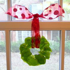 Green Recycled Bottle Christmas Wreath Red Ribbon Handmade Fused Glass | ResetarGlassArt - Glass on ArtFire