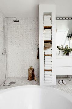 open bathroom layout wet rooms, bathroom storage, tiled showers, white bathrooms, shelv, mosaic tiles, towel storage, storage ideas, bathroom shower ideas