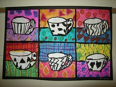 pop art, grade pop, tea art, kid art, coffee cups, art pop, art projects, 4th grade, art rooms