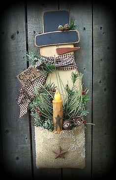 Snowman Wood Craft Burlap Pattern Winter K213 Timer Tapercandle Light Primitive
