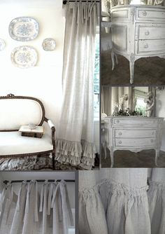 The Paper Mulberry: linen French love the bottom ruffles on the drapes