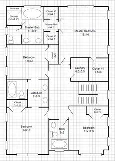 Jack And Jill Bathroom Floor Plan With Bath And Shower