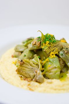 Artichokes and cheesy grits
