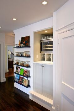 Love the floating shelves in the kitchen. No cabinet but need extra storage space PLUS a decorative feature? Try floating shelves!