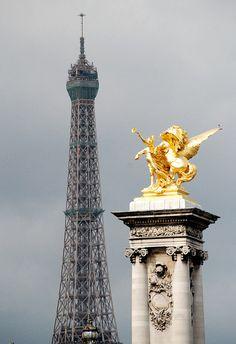 Tower and bridge, Paris, France