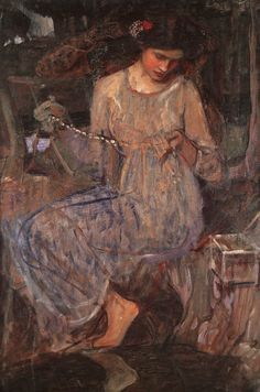 John William Waterhouse: The Necklace 1909, preraphaelit, amber bead, pre raphaelit, john waterhous, lamia, artist, necklaces, john william waterhouse