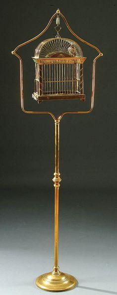 Brass birdcage on stand