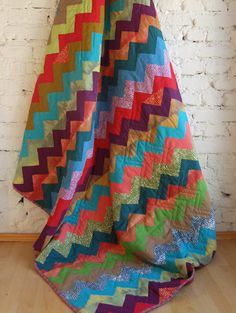 Beautiful colors chevron quilt