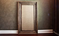 "Weathered Oak Burlap board - Hand stretched burlap over a cork board - solid Alder wood - 8.5"" profile - int dim 30x60"