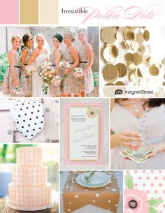 Pink and gold polka dot wedding ideas and inspiration--irresistible for a playful, modern-retro wedding.