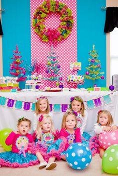 bright xmas party table