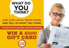 The Bulletin would like to survey members of our community and capture their thoughts about our newspaper. We'll send you an occasional email, asking you to take no more than 6 brief surveys over the next 6 months.  Sign up at http://GateHousePanel.com/TheBulletin and be entered to win a $500 gift card with each survey you take. Based on the feedback we receive, we'll work to deliver the most valuable local news we can to you.